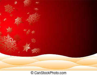 snowy christmas - christmas scene with large snowflakes and...
