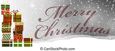 snowy christmas greeting card with gift boxes