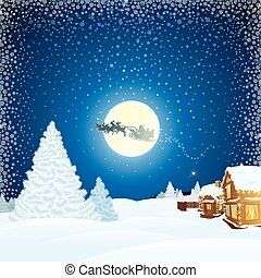 Christmas Landscape with Santa Claus Sleigh