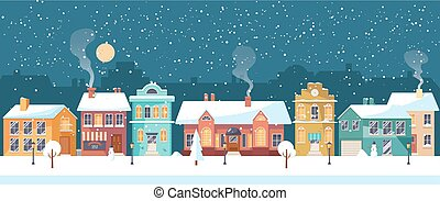 Snowy Christmas night in the cozy town, panorama - Snowy...