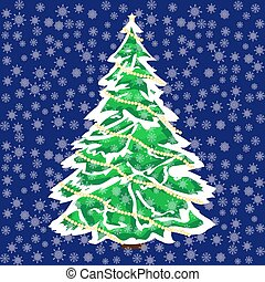Snowy Christmas tree in the snow background