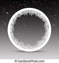 snowy circle frame template