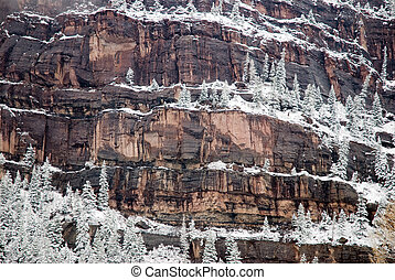 Snowy cliffs in Ouray. CO - Snowy cliffs above Ouray,...