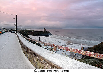 snowy coast road