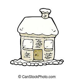 snowy cottage cartoon