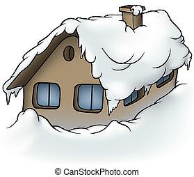 Snowy Cottage - Cartoon Illustration, Vector