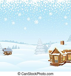 Snowy Day Winter Landscape. Vector Illustration