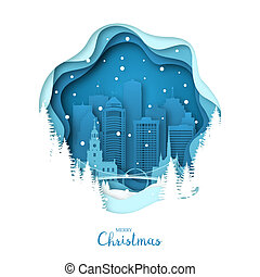 Snowy Detroit city. Merry Christmas paper art greeting card....