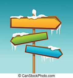 snowy direction board