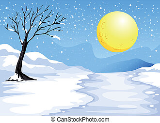 Snowy evening - Illustration of a snowy evening