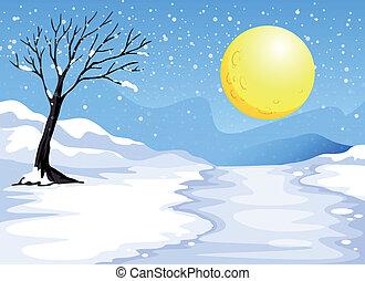 Snowy evening - Illustration of a snowy evening
