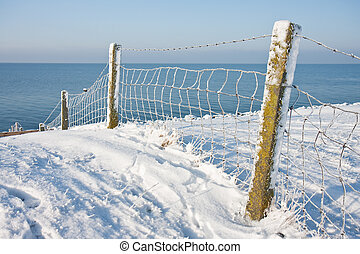 Snowy fence near the coast of the Netherlands