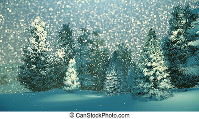 Dreamlike winter scenery. Snow-covered fir trees at snowfall night. Background is out of focus. Decorative 3D animation.