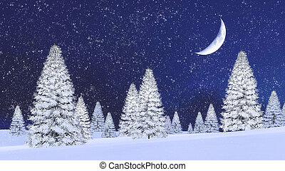 Snowy firs and half moon at snowfall night