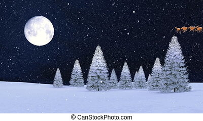 Snowy firs and Santa on sleigh at christmas night