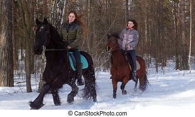 Snowy forest at spring. Two women riding horses. Mid shot