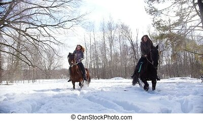 Snowy forest at spring. Two women riding horses on a snowy...