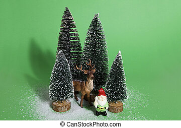 snowy forest firs gnome and reindeer green - Isolated group...