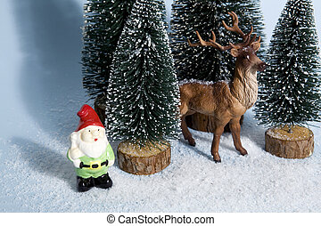 snowy forest firs gnome and reindeer blue - Staging of full...