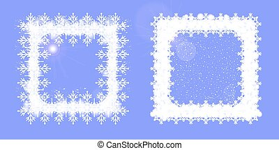 Snowy frame square. Set of two Christmas design elements.