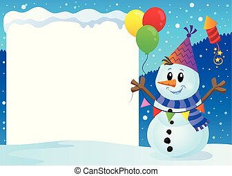 Snowy frame with party snowman 1