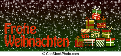 snowy Frohe Weihnachten, merry christmas in German, banner or greeting card with colorful gift boxes