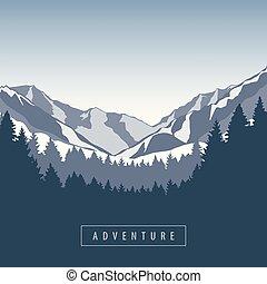 snowy góra, las, krajobraz, natura, przygoda