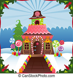 Gingerbread House in the winter, decorated with candy ... great image for Holidays