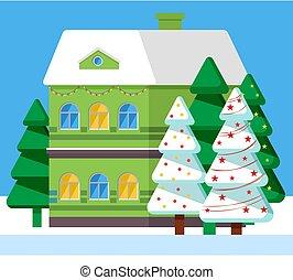Snowy House and Fir-tree, Winter Postcard Vector