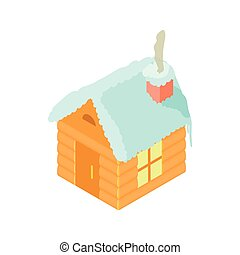 Snowy house icon, cartoon style