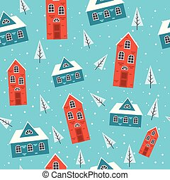 Snowy houses Seamless pattern