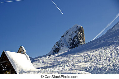 Snowy Landscape of Dolomites Mountains during Winter