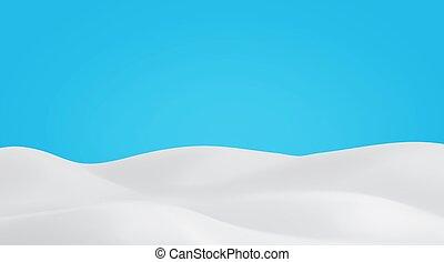 Snowy landscape on blue sky background. Winter snow field realistic scene. Christmas empty banner