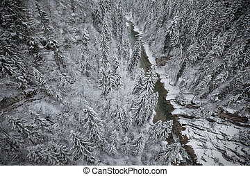 Snowy landscape - Snowy forest and river. Top view from...
