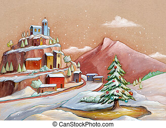 Snowy landscape with a Christmas tree