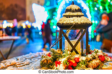 Snowy lantern composition at the Vilnius Christmas Market reflex