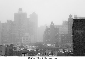 Winter blizzar from a rooftop in Manhattans Upper East SIde (NYC, USA)
