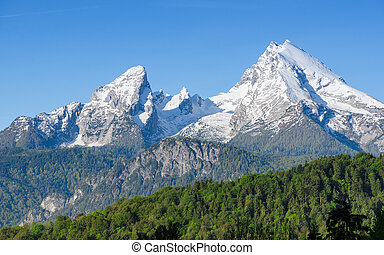 Snowy mount peaks of Watzmann Mountain ridge in Bavarian...
