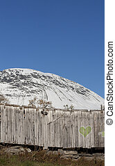 Snowy mountain and poster board