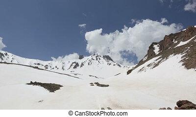 Snowy mountain panoroma time lapse