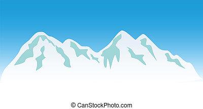 Snowy mountain peaks in winter