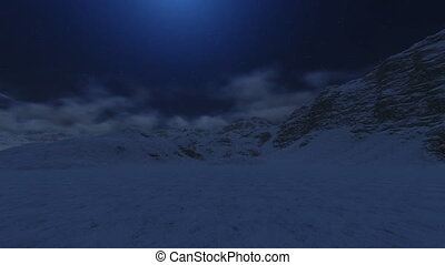 Snowy Mountain Peaks to the Moon