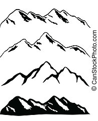 Snowy mountain peaks - Various mountains with snow caps