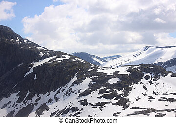 snowy mountain resort and winter sports in Norway