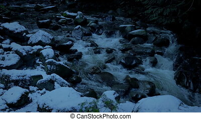 Snowy Mountain River In The Evening