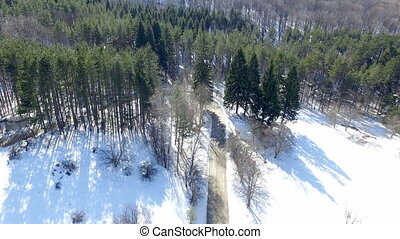 Snowy Mountain Road - Aerial footage landscape with mountain...