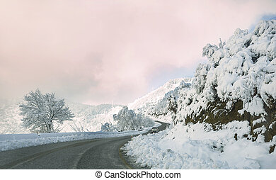 Snowy mountain road.