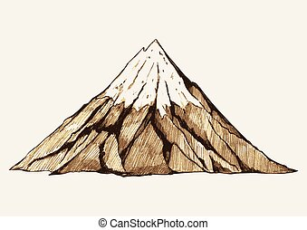 Snowy Mountain - Sketch illustration of a mountain