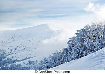 Snowy mountain top upon cloudy sky