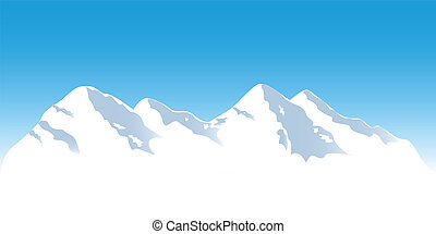 Snowy mountain tops in winter